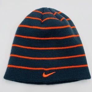 NIKE Blue & Orange Stripe Youth Beanie Winter Hat